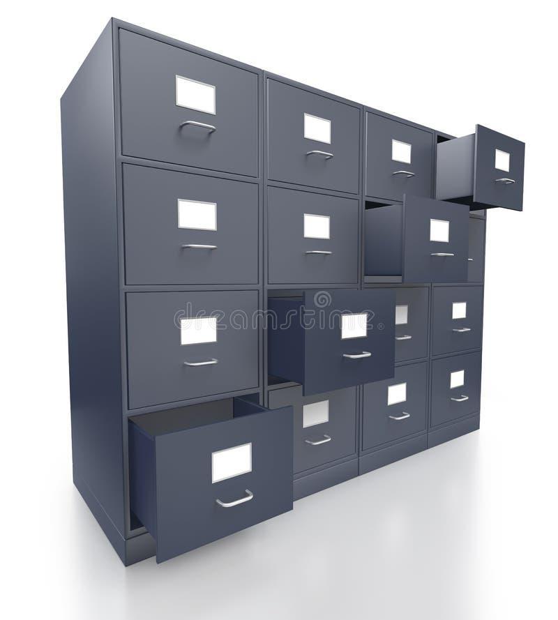 Quatre meubles d 39 archivage gris de bureau avec les tiroirs for Meuble bureau gris