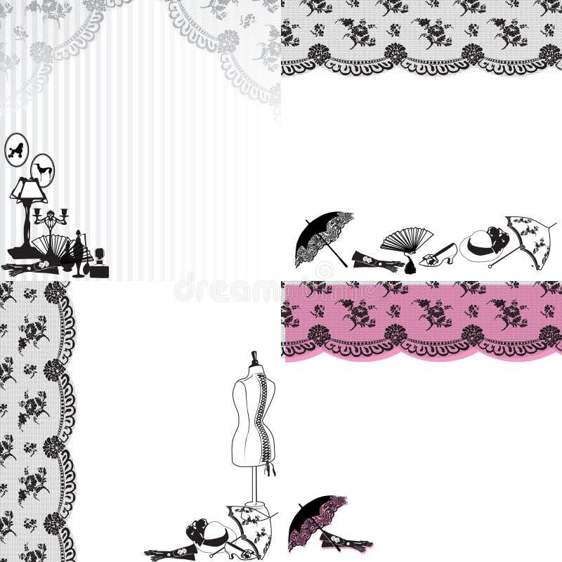 Quatre milieux avec des accessoires de vintage illustration stock