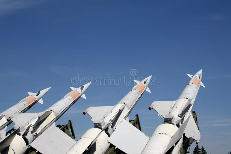 quatre missiles prêts photo libre de droits