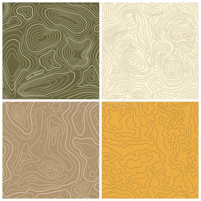 Quatre modèles sans couture de carte topographique de vecteur illustration stock