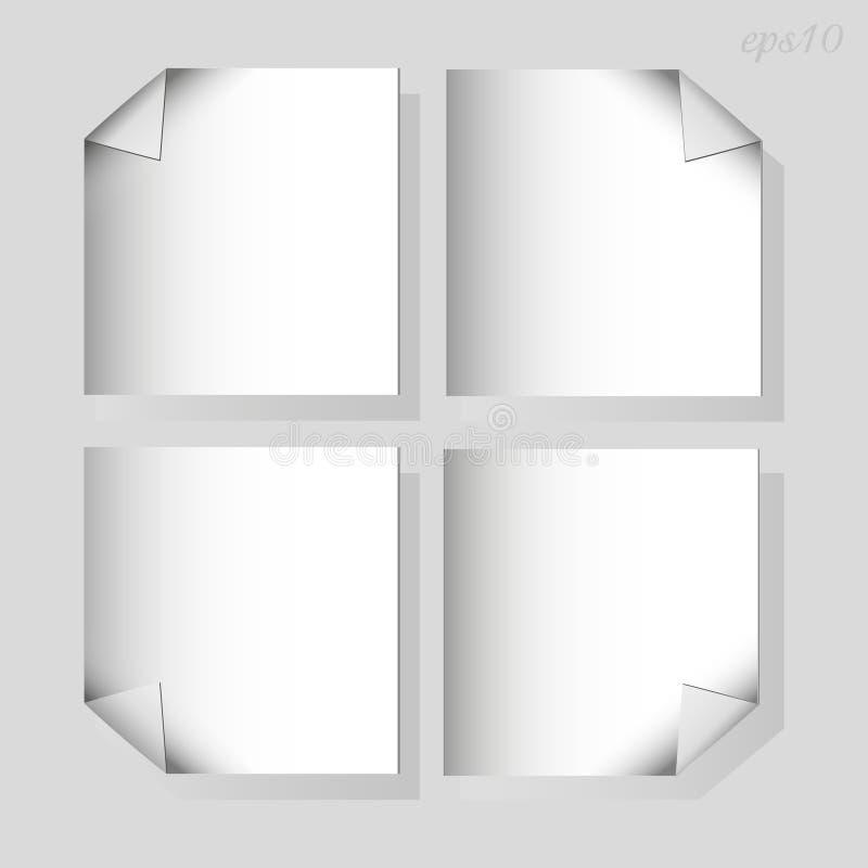 Quatre morceaux de papier blancs au-dessus de gris illustration libre de droits
