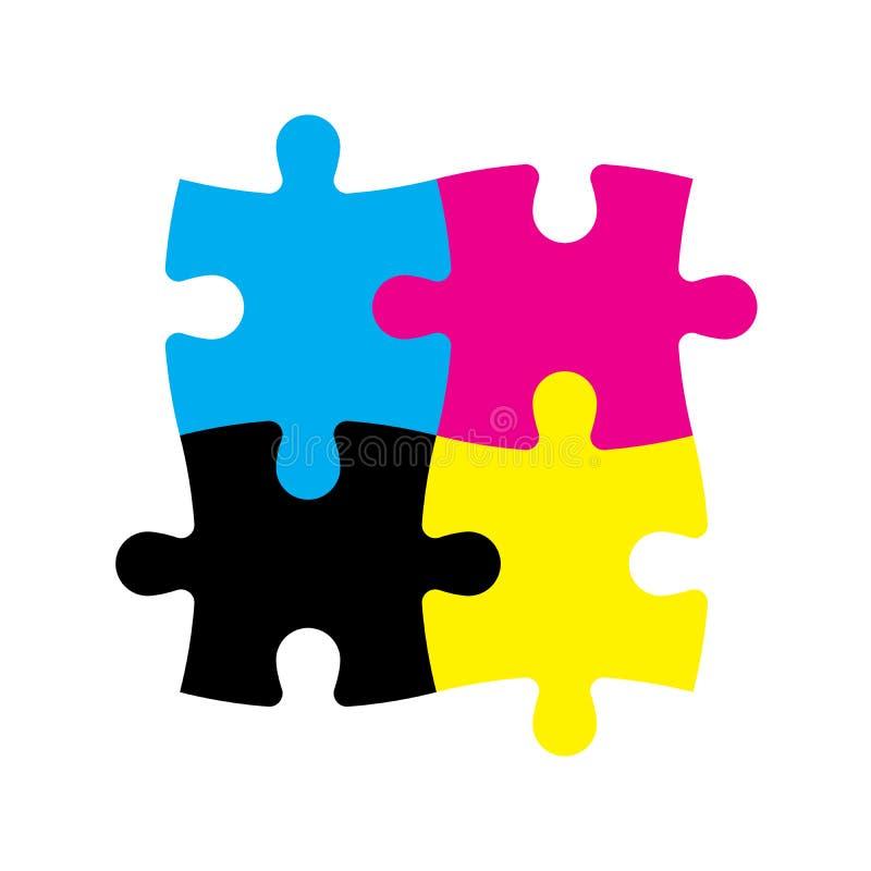Quatre morceaux de puzzle denteux dans des couleurs de CMYK Thème d'imprimante Illustration de vecteur illustration libre de droits
