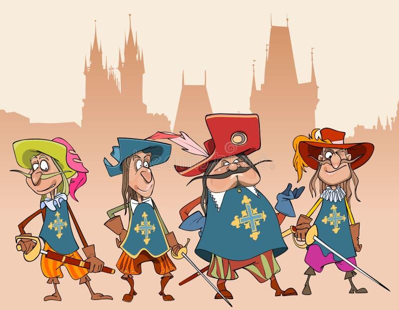 Quatre mousquetaires drôles de soldats de caractères de bande dessinée illustration libre de droits