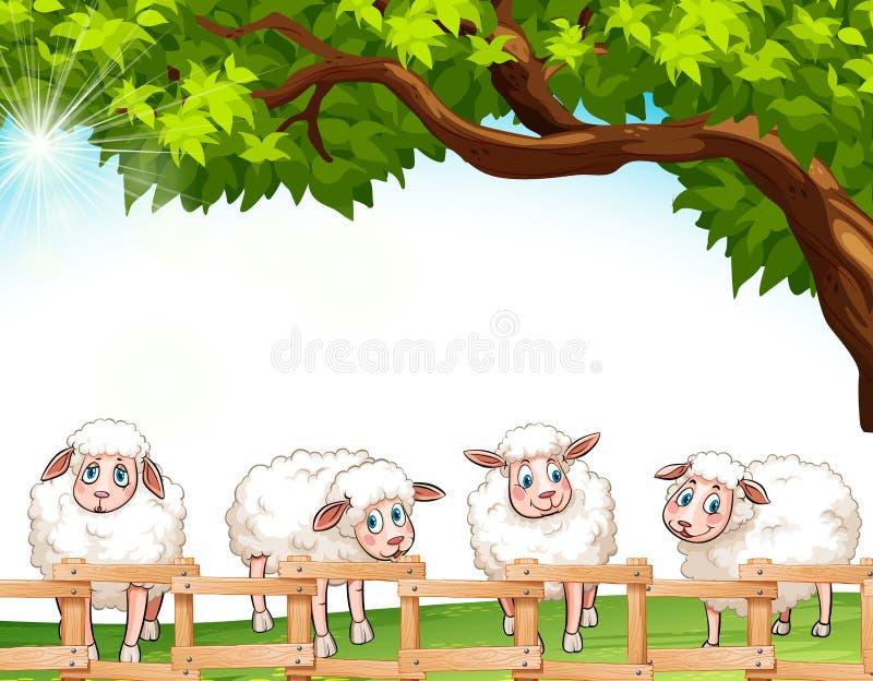 Quatre moutons illustration de vecteur