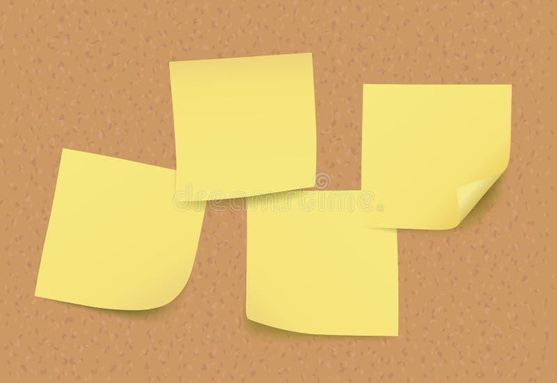 Quatre notes de post-it jaunes de vecteur vide sur le panneau de liège illustration stock