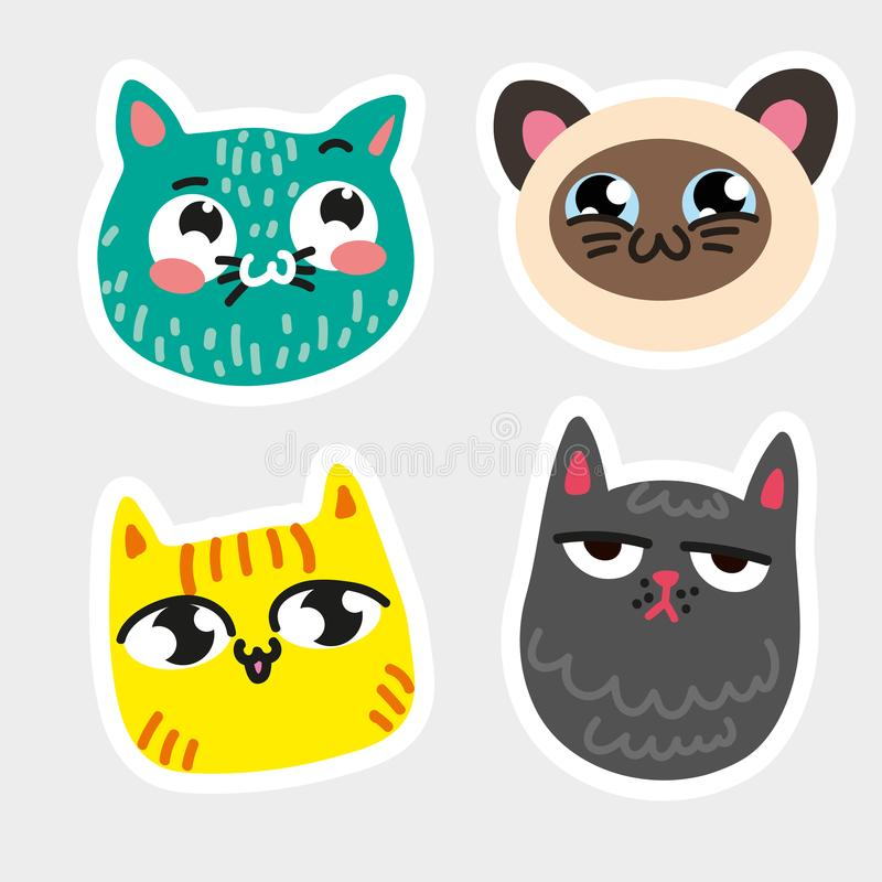 Quatre ont isolé la ligne blanche épaisse encadrée par emoji de chat le chat que bleu en taches a barré le chat souriant siamois  illustration libre de droits