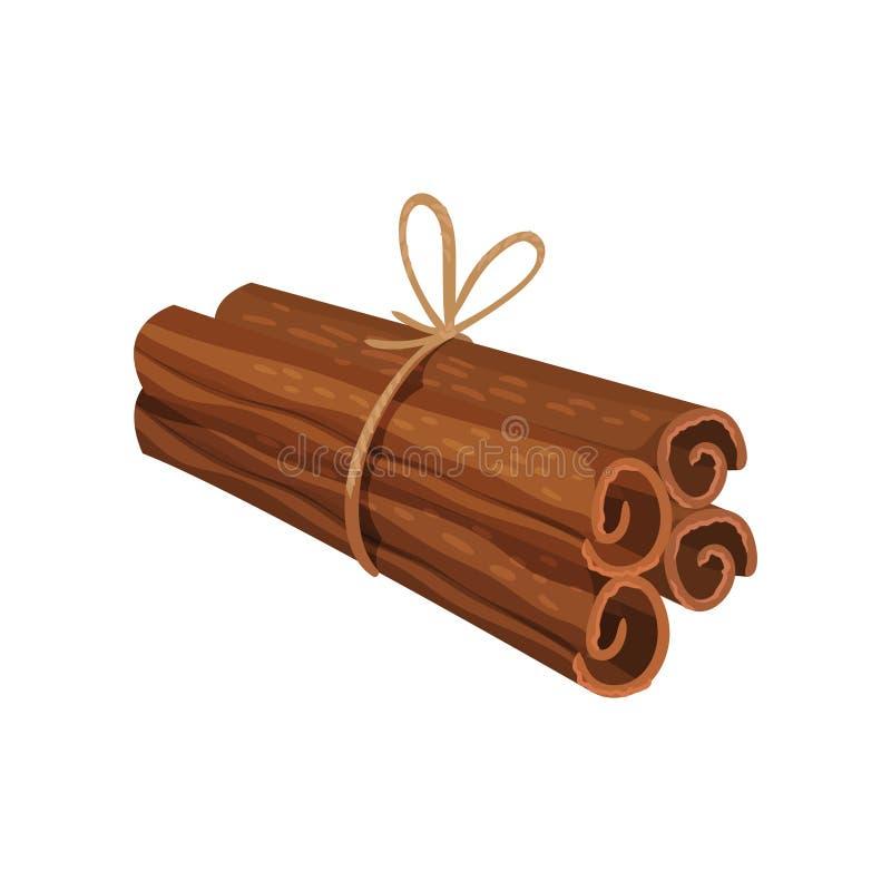 Quatre ont roulé des bâtons de cannelle attachés avec la corde Condiment aromatique Assaisonnement parfumé Conception plate détai illustration libre de droits