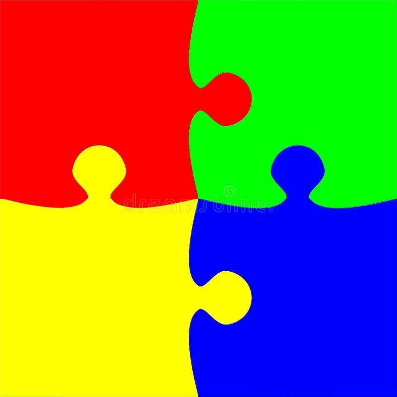 Quatre parties colorées de puzzle illustration stock