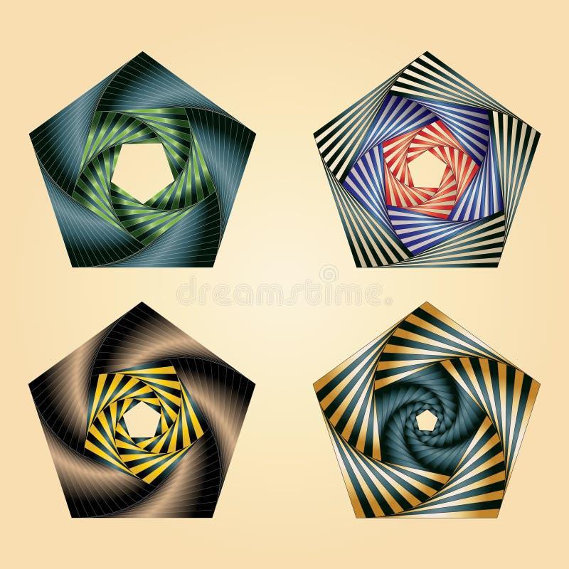 Quatre pentagones d'iris illustration de vecteur
