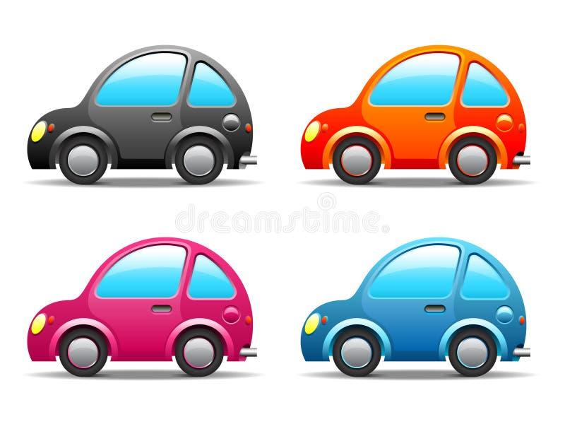 Quatre petits véhicules drôles illustration stock
