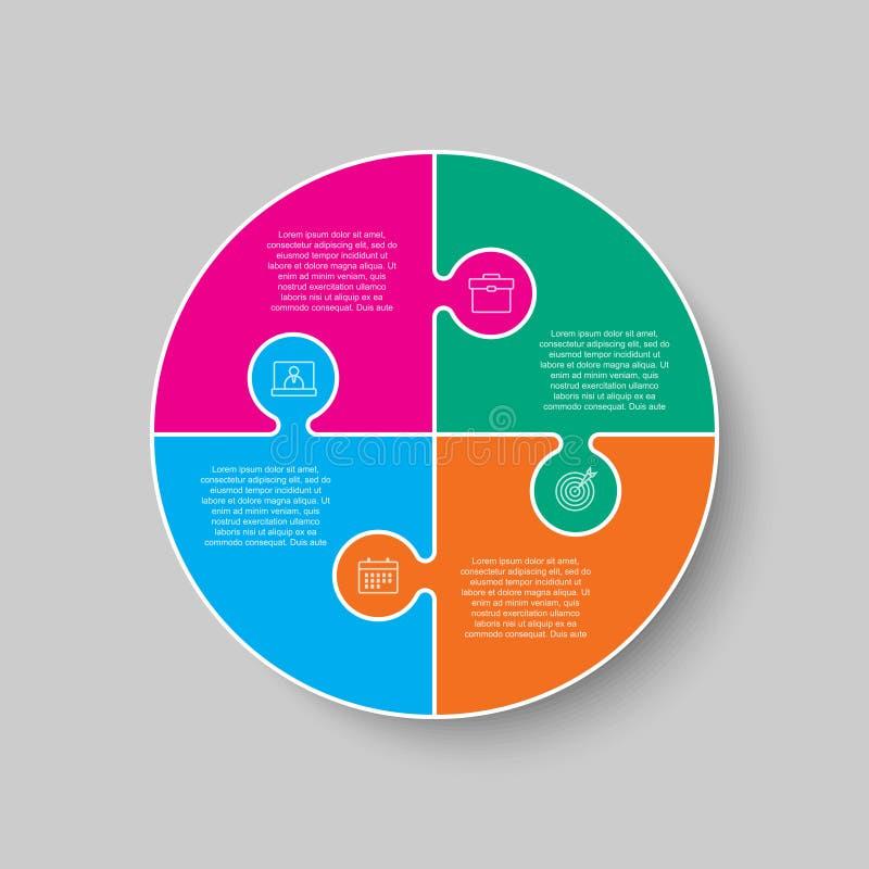 Quatre pièces de puzzle cercle infographique illustration de vecteur