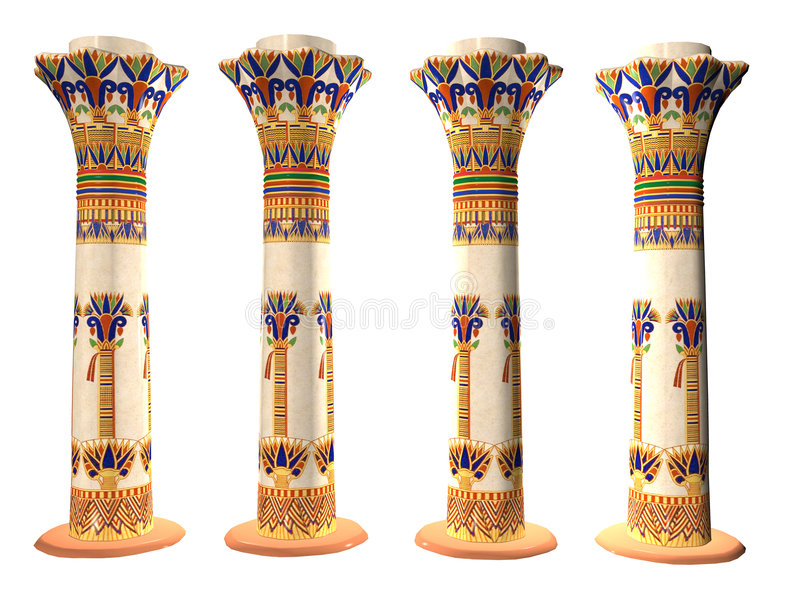 Quatre piliers égyptiens illustration stock
