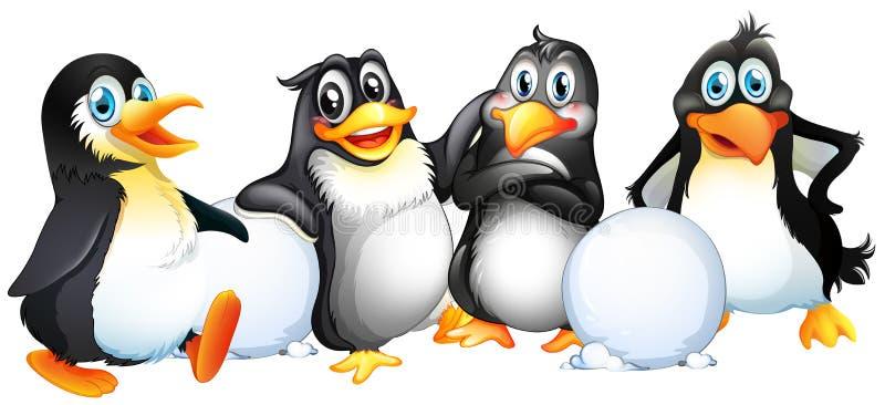 Quatre pingouins avec des boules de neige illustration stock