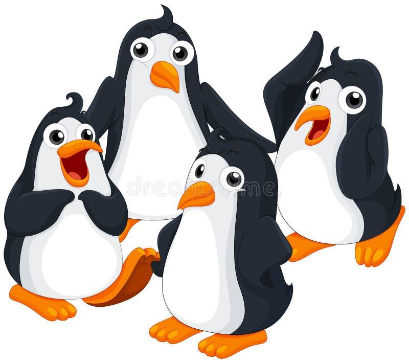 Quatre pingouins avec le visage heureux illustration de vecteur