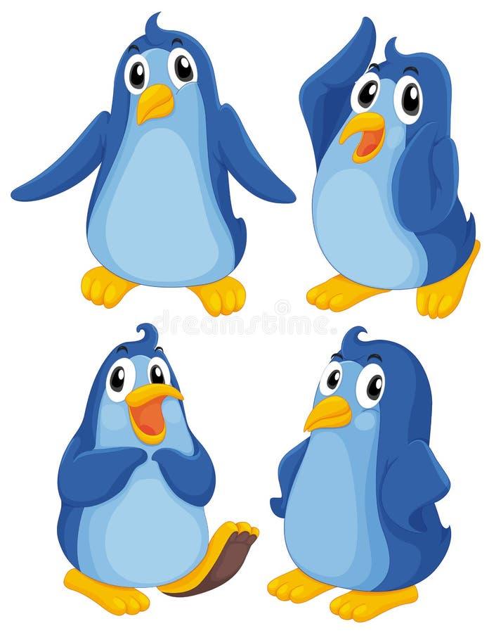 Quatre pingouins bleus illustration de vecteur