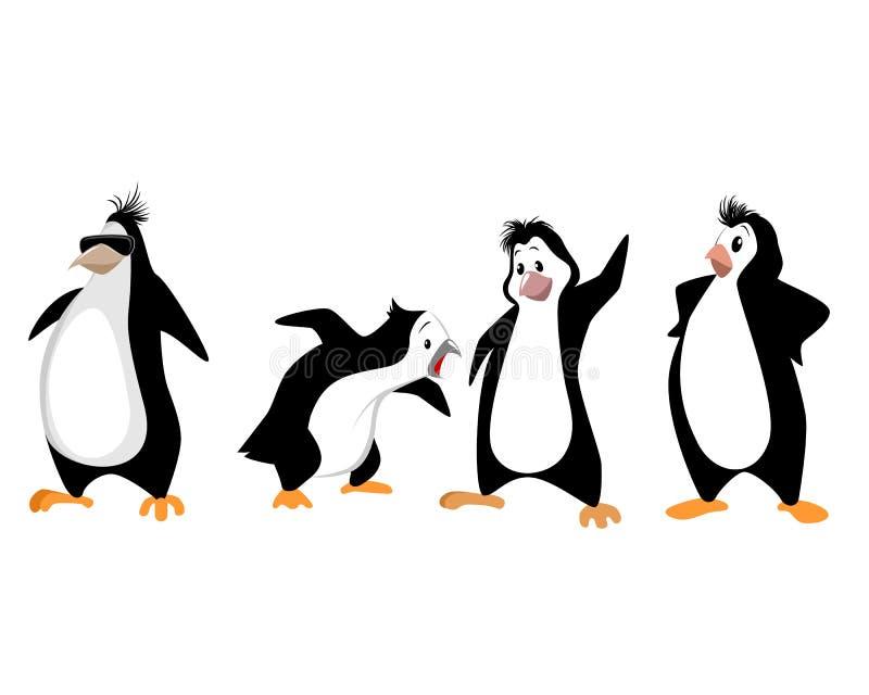 Quatre pingouins drôles illustration libre de droits