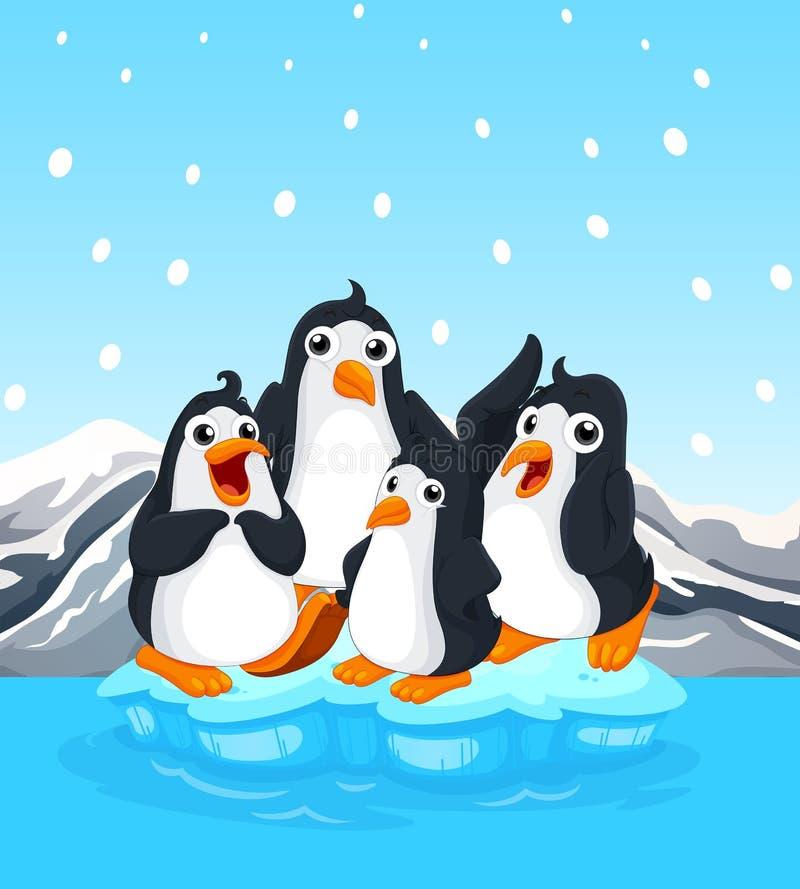 Quatre pingouins se tenant sur l'iceberg illustration de vecteur
