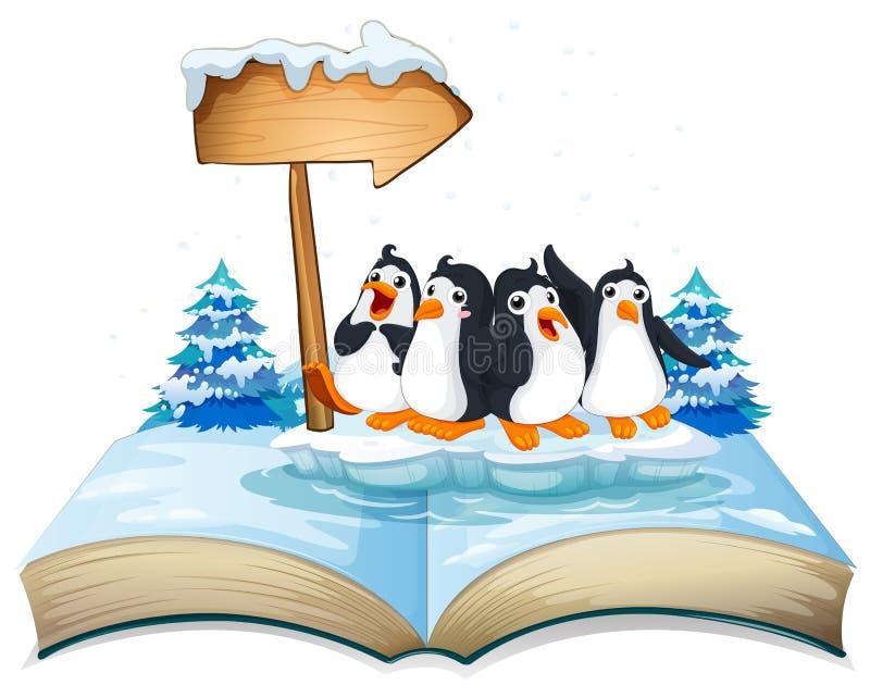 Quatre pingouins se tenant sur la glace illustration de vecteur
