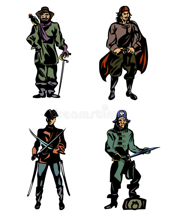Quatre pirates courageux illustration de vecteur