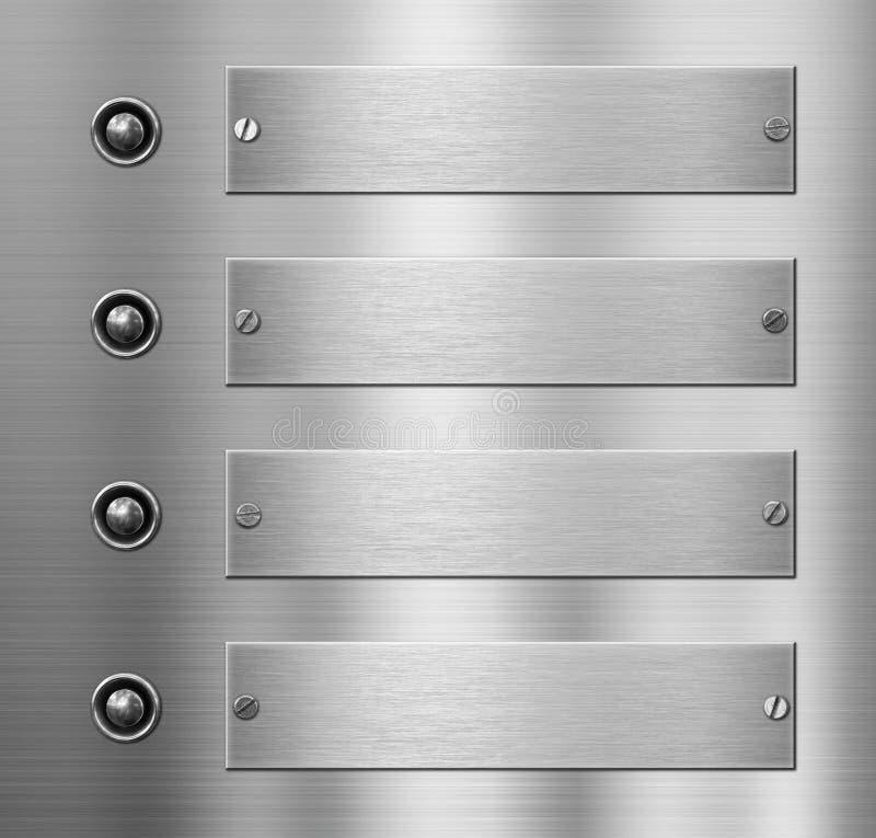 Quatre plaques de métal avec le fond de boutons illustration libre de droits