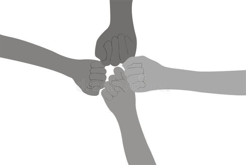 Quatre poings illustration libre de droits
