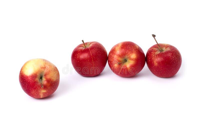 Quatre pommes rouges sur un fond blanc Pommes juteuses de couleur rouge avec les points jaunes sur un fond blanc image libre de droits