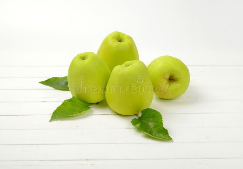 Quatre pommes vertes photo stock