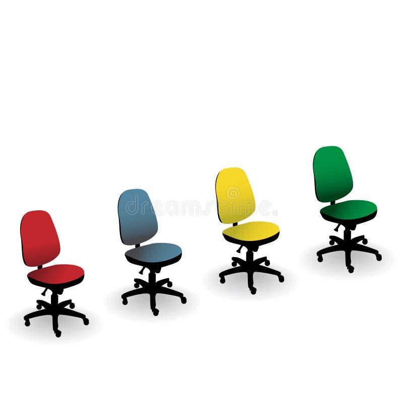 Quatre présidences de bureau de couleur illustration stock