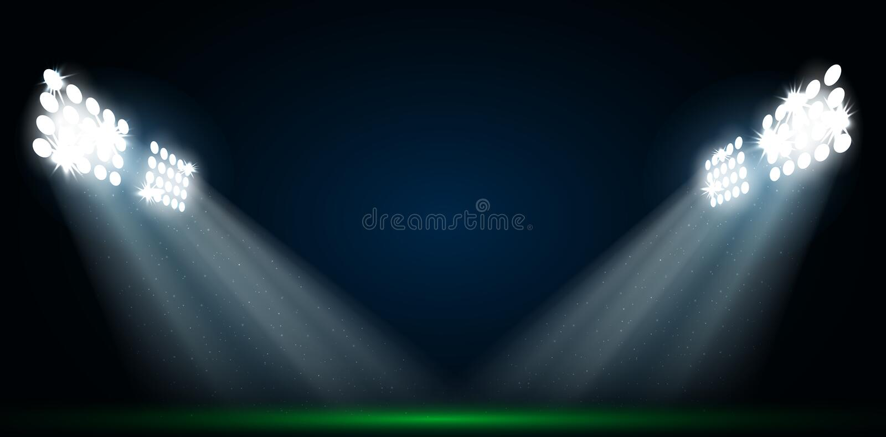 Quatre projecteurs sur un terrain de football illustration stock