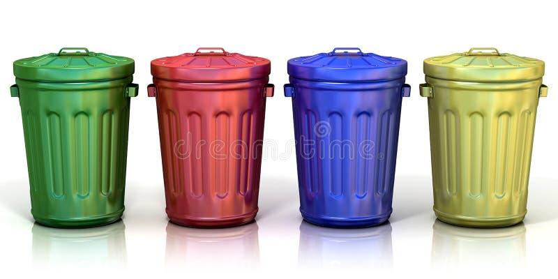 Quatre réutilisent des poubelles pour réutiliser le papier, le métal, le verre et le plastique illustration libre de droits
