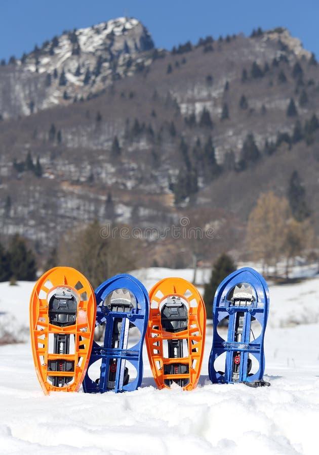 Quatre raquettes en montagnes en hiver images stock