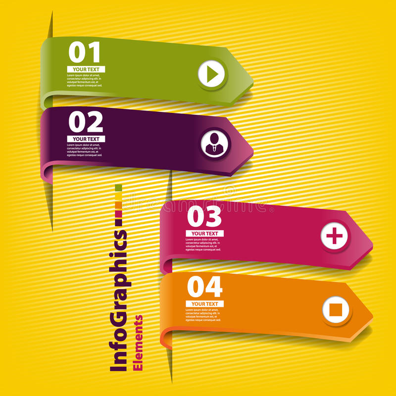 Quatre rayures de papier coloré pour l'infographics illustration libre de droits