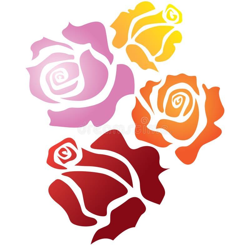 Quatre roses de couleur illustration libre de droits