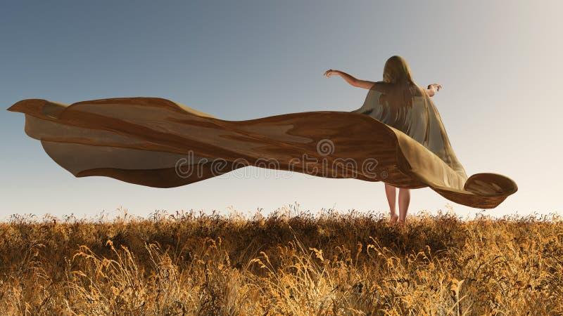 Quatre saisons, femme à l'automne illustration libre de droits