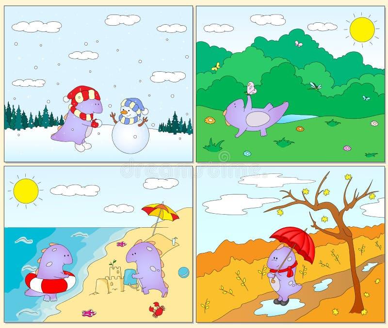 Quatre saisons hiver printemps t et automne avec l 39 entrave pourpre illustration de vecteur - Printemps ete automne hiver et printemps ...