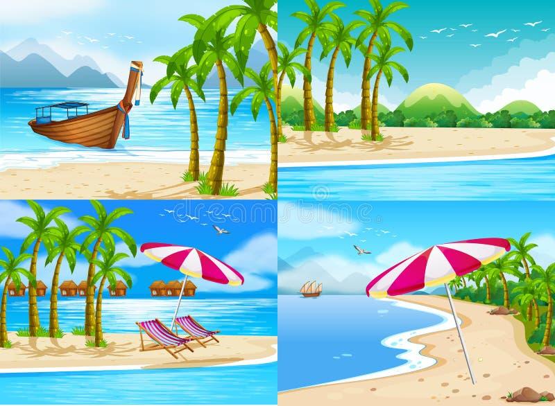 Quatre scènes d'océan avec des arbres de noix de coco illustration de vecteur
