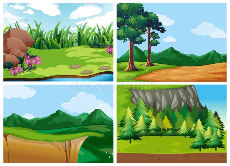Quatre scènes de forêt à la journée illustration stock