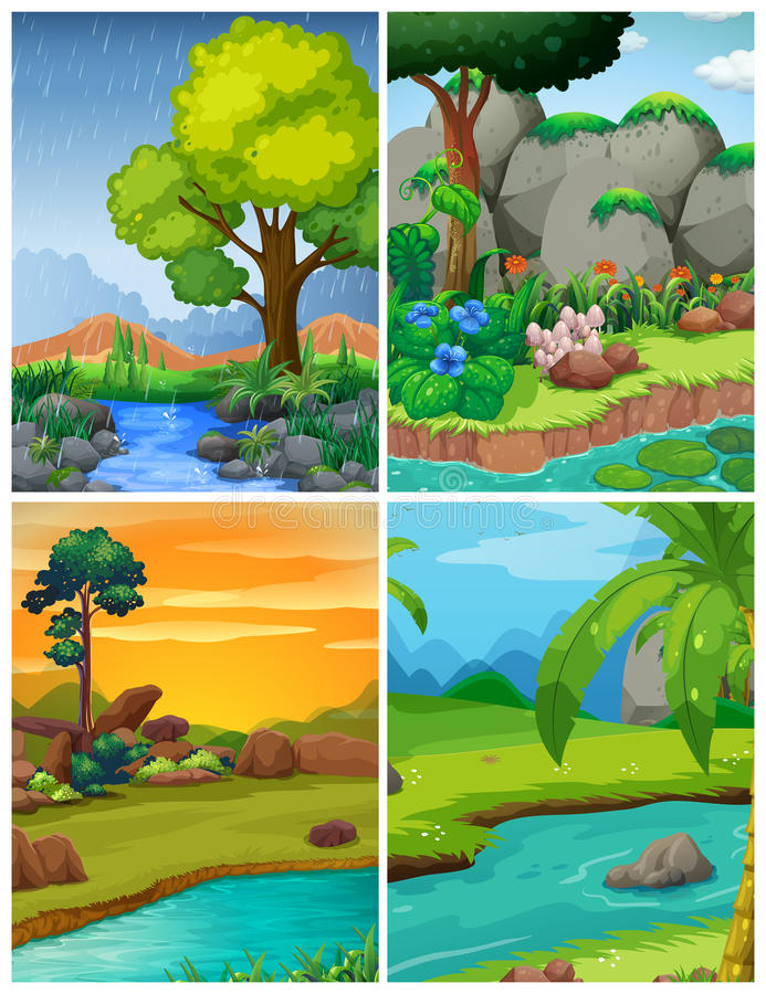 Quatre scènes de forêt avec des rivières illustration de vecteur