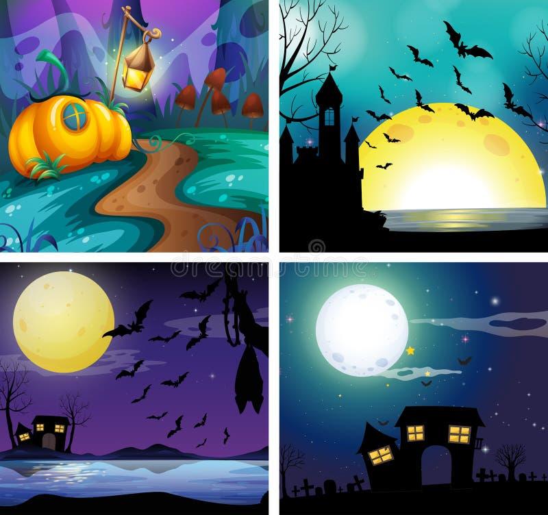 Quatre scènes de nuit avec le fullmoon illustration libre de droits