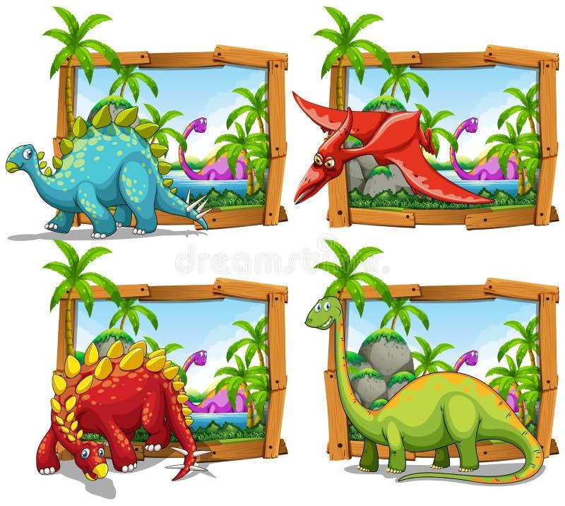 Quatre scènes des dinosaures par le lac illustration libre de droits