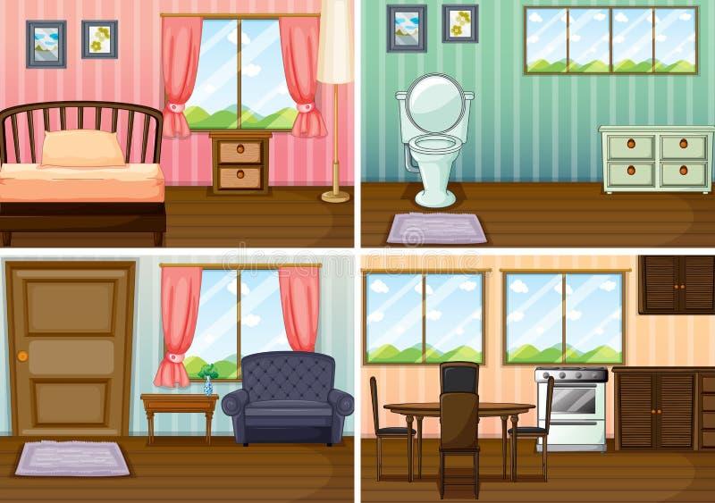 Quatre scènes des salles dans la maison illustration stock
