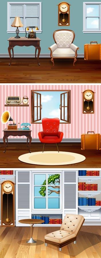Quatre scènes des salles dans la maison illustration libre de droits