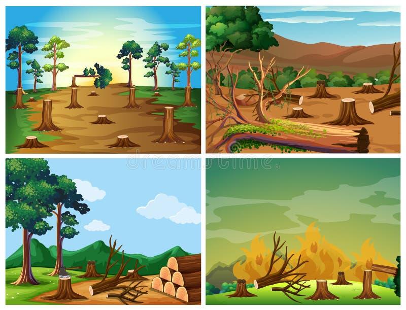 Quatre scènes du déboisement et du feu sauvage illustration stock