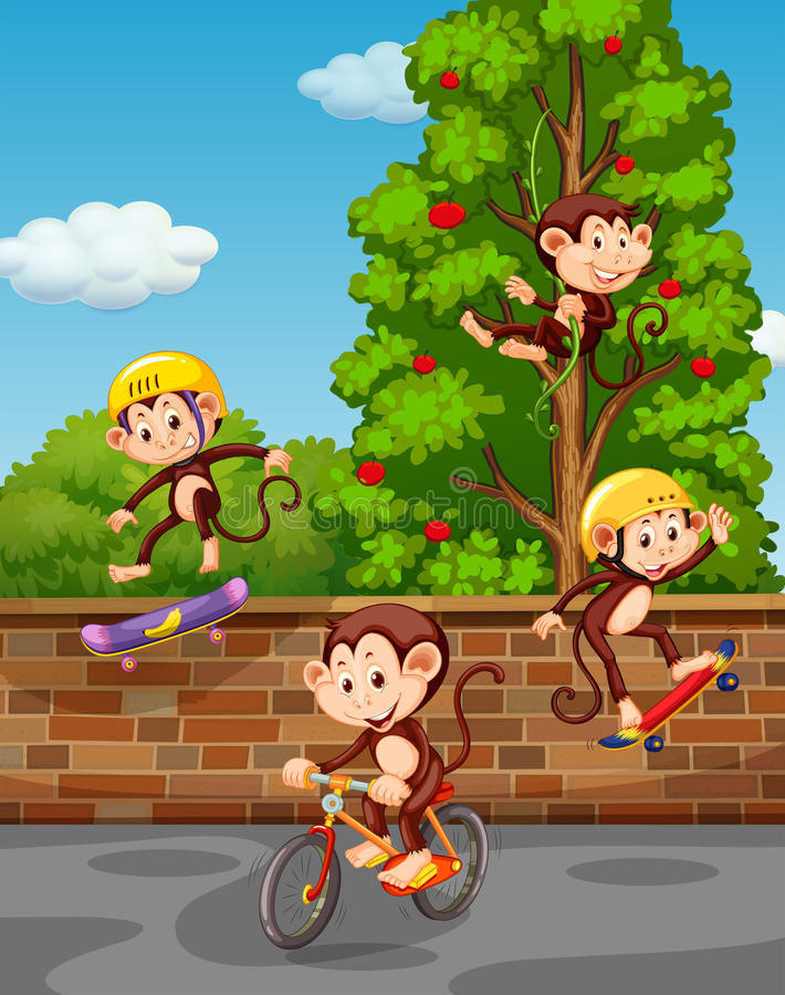 Quatre singes jouant sur la rue illustration de vecteur