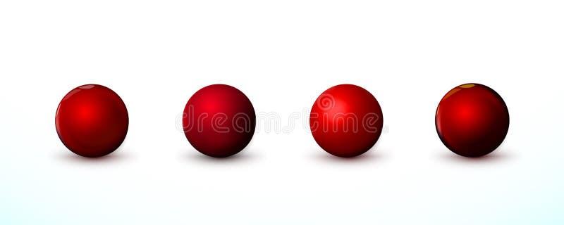 Quatre sphère rouge, boules Établi faux du rond propre l'objet réaliste, icône de globe Décoration de calibre de conception Autou illustration de vecteur