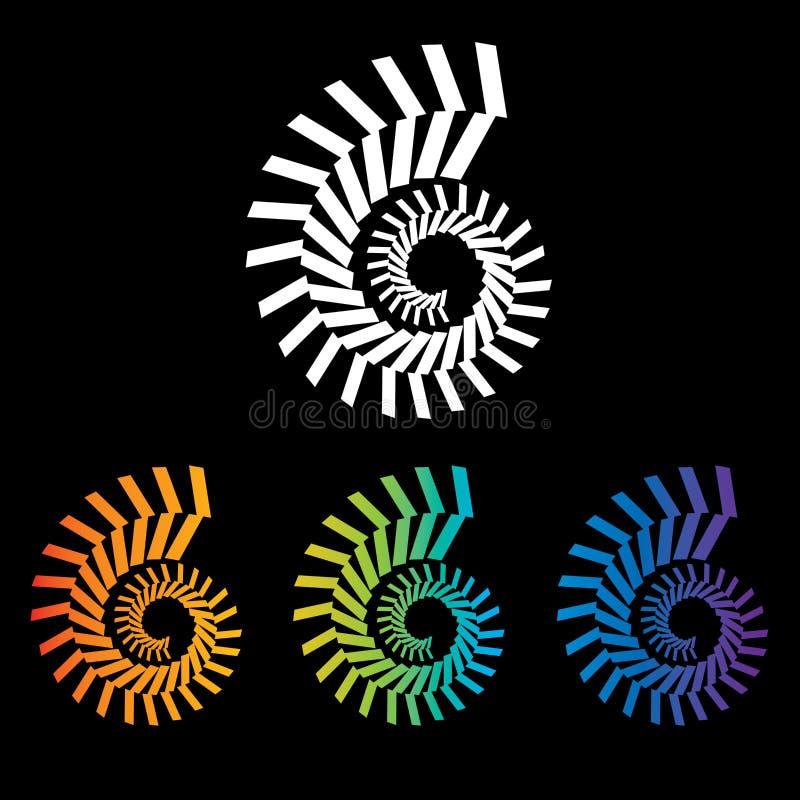 Quatre spirales colorées de nautilus à choisir de illustration stock