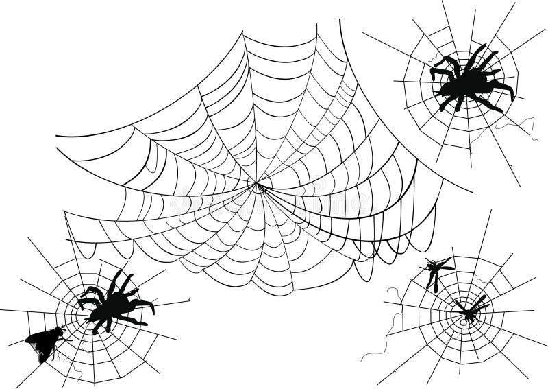Quatre toiles d'araignée illustration de vecteur