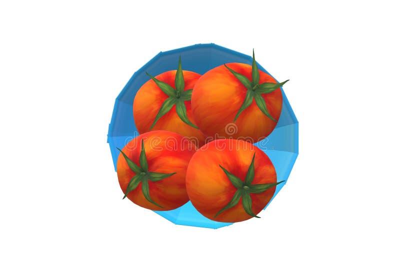 Quatre tomates sur un dessus bleu lumineux de cuvette en bas de vue avec le contexte blanc illustration de vecteur