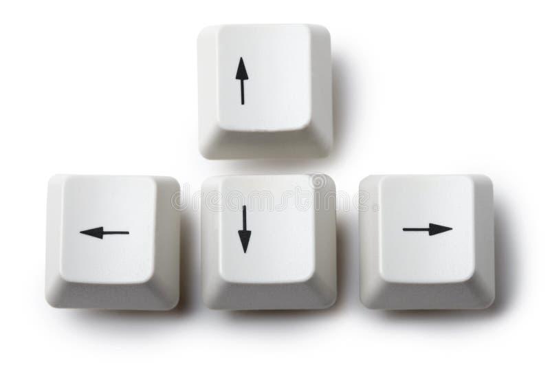 Quatre touches de déplacement du curseur de clavier sur le fond blanc image stock