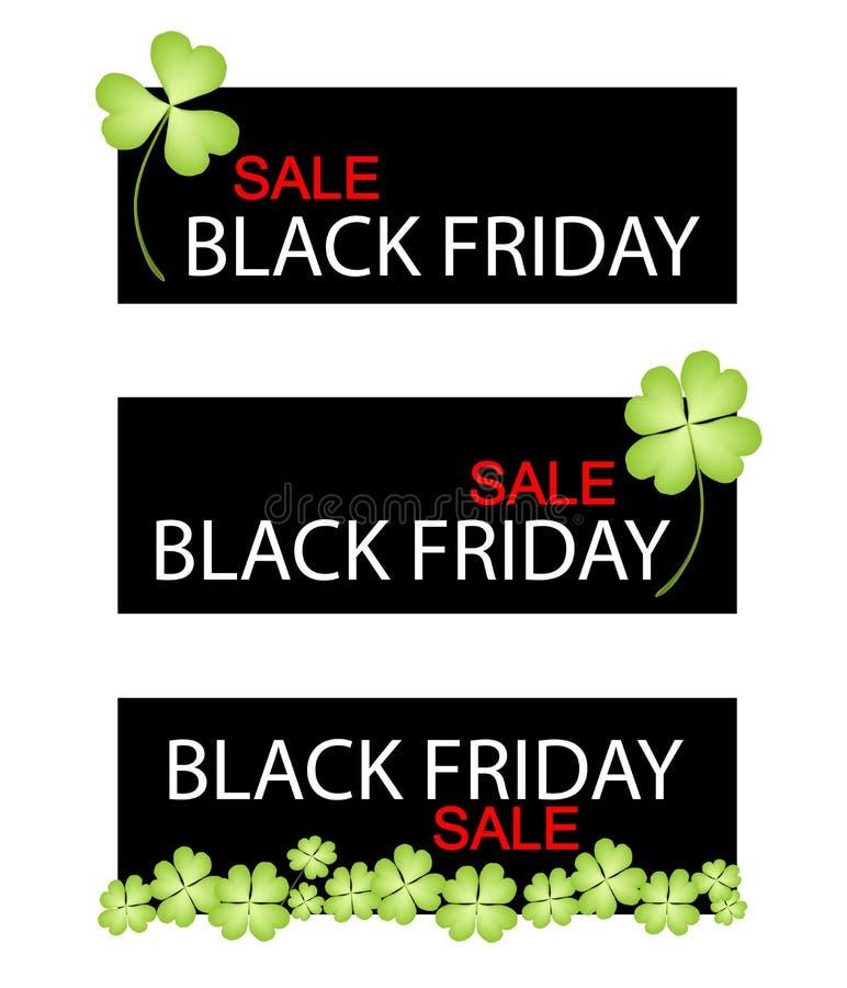 Quatre trèfles de feuille sur la bannière de vente de Black Friday illustration de vecteur